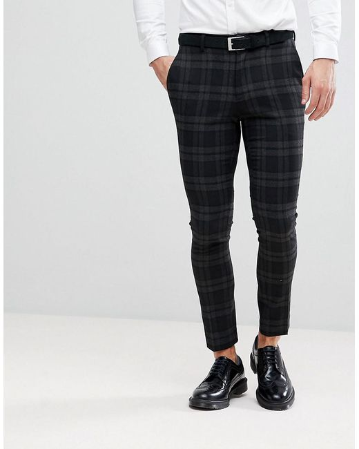 Only & Sons - Black Skinny Suit Pants In Check for Men - Lyst