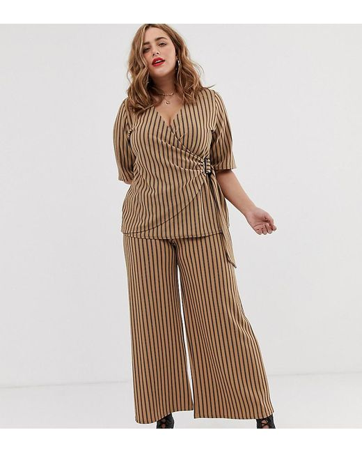 Simply Be Brown Culottes Co-ord In Camel Stripe