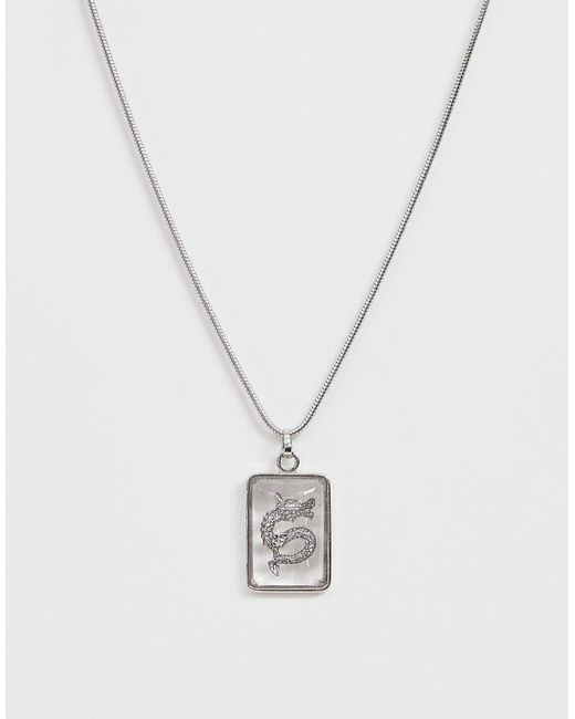ASOS Metallic Necklace With Jewel And Engraved Dragon Detail In Silver Tone
