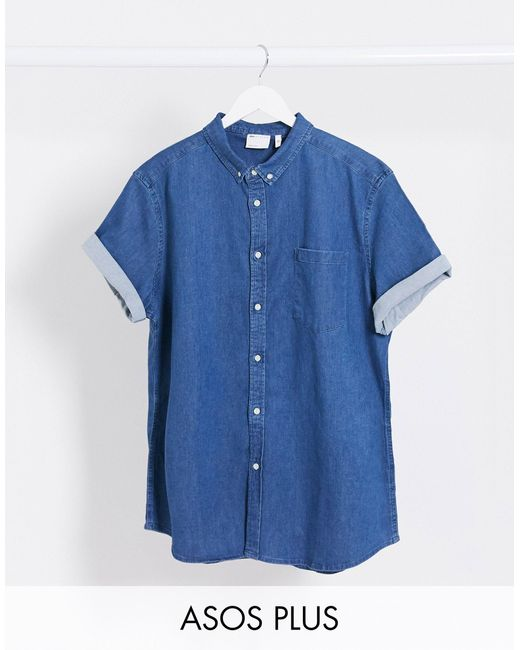 Plus - Camicia di jeans organica slim stretch lavaggio medio di ASOS in Blue da Uomo