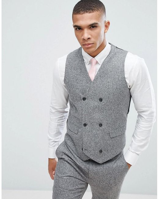 Lyst Asos Asos Wedding Skinny Suit Vest In 100 Silk Textured Gray