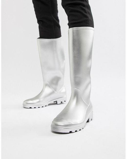 ASOS Metallic Silver Wellies for men