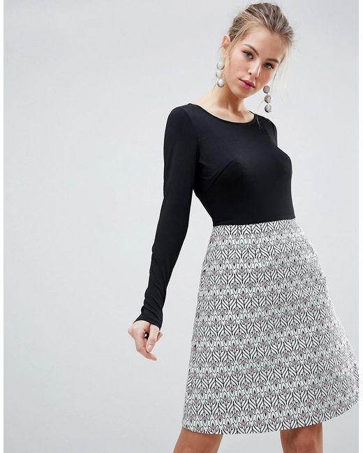 Traffic People - Black Long Sleeve 2-in-1 Skater Dress With Printed Skirt  ... bda29a4aaa1c
