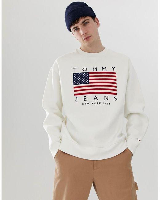c8966d3df35b Tommy Hilfiger - Us Flag Capsule Logo Print Crew Neck Sweatshirt In White  for Men ...