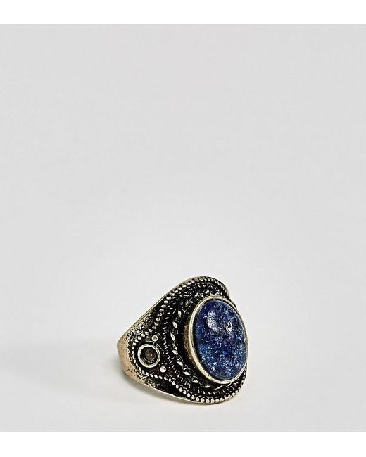 ASOS - Metallic Plus Ring In Burnished Gold With Navy Stone for Men - Lyst