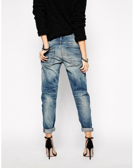 star raw g star arc 3d boyfriend jeans in blue lyst. Black Bedroom Furniture Sets. Home Design Ideas