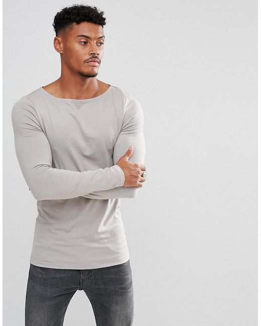 ASOS | Gray Extreme Muscle Fit Long Sleeve T-shirt With Crew Neck for Men | Lyst