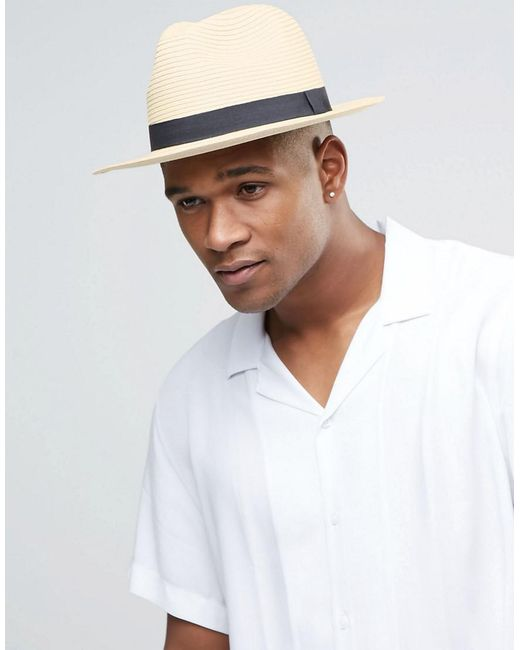 c13bd796c Men's Natural Straw Fedora Hat In Beige