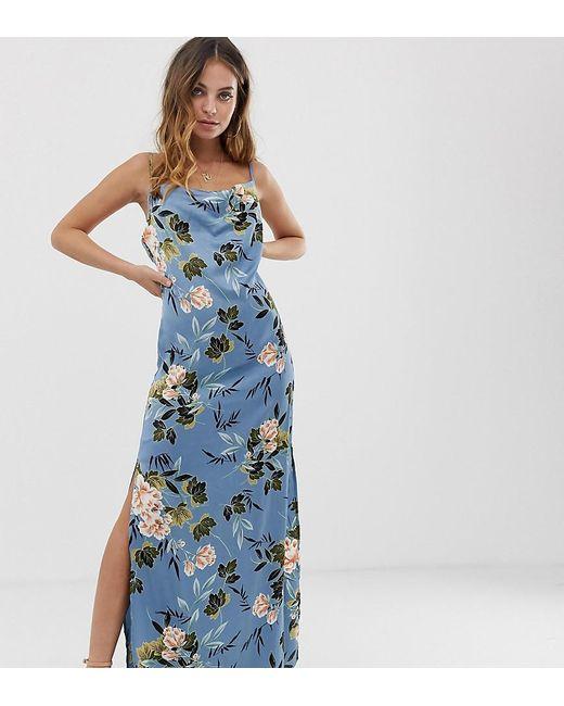 b23ef1999d2 Missguided - Satin Cowl Neck Side Split Maxi Dress In Blue Floral - Lyst ...