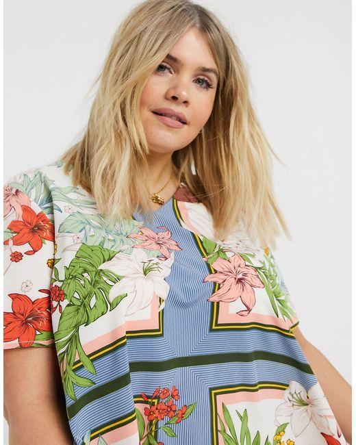 Свободное Платье С V-образным Вырезом И Цветочным Принтом -мульти AX Paris, цвет: Multicolor