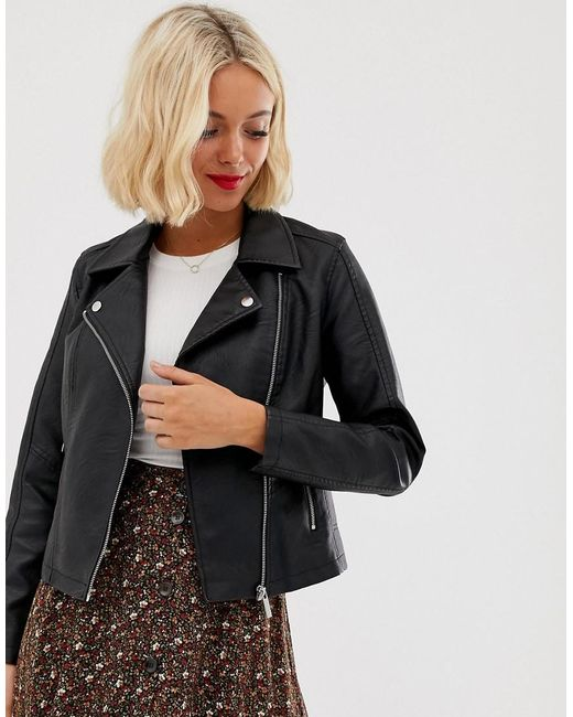 New Look Leather Look Biker Jacket In Black
