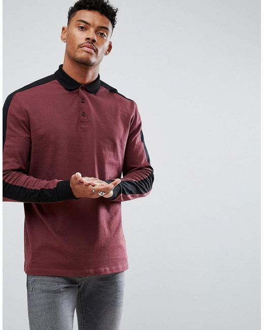 ASOS - Multicolor Long Sleeve Polo In Relaxed Fit With Contrast Sleeve Panels for Men - Lyst