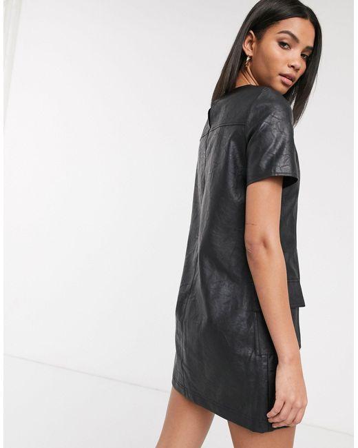 Черное Платье А-силуэта Из Искусственной Кожи -черный River Island, цвет: Black