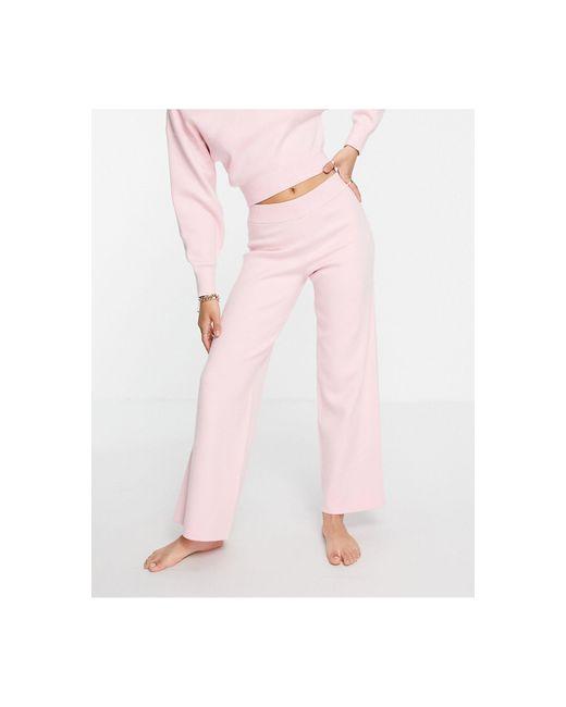 Розовые Трикотажные Брюки Прямого Кроя Премиум-класса Для Дома ASOS, цвет: Pink