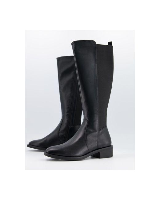 Черные Высокие Сапоги Из Искусственной Кожи -черный Цвет New Look, цвет: Black