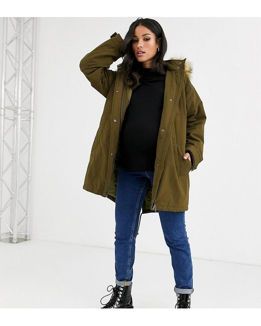 the latest online store half price ASOS Synthetic Asos Design Petite Ultimate Parka In Khaki in ...