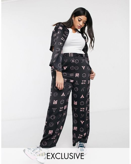 Collusion Plus Wide Leg Pant With Print-black