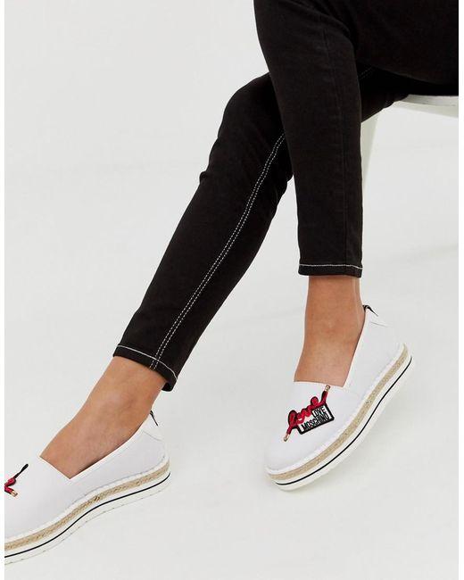 Love Moschino Love - Espadrilles Met Logo in het White