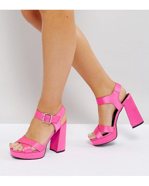 ASOS DESIGN - Pink Asos Hearts Wide Fit Platform Sandals - Lyst