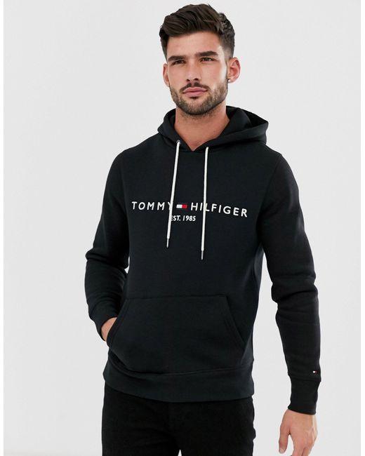 Черный Худи С Логотипом В Виде Вышитого Флага -черный Цвет Tommy Hilfiger для него, цвет: Black