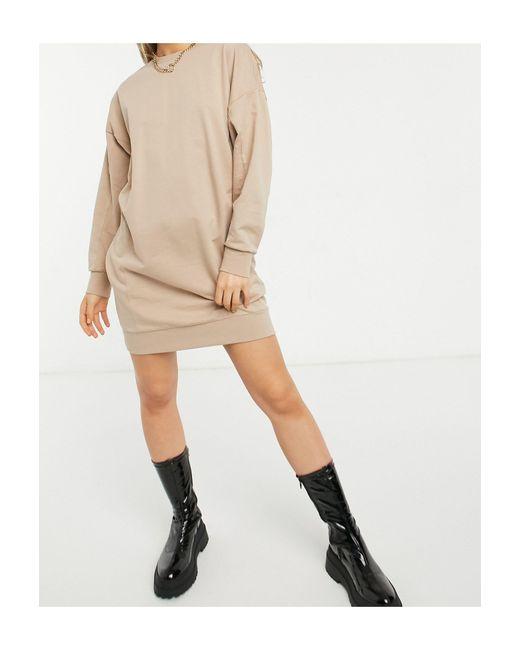 Vestito felpa con cuciture grigio talpa di ASOS in Brown