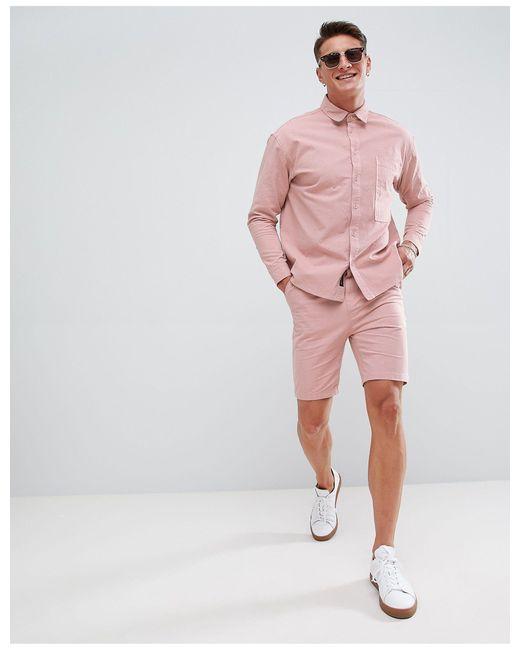 Native Youth – Plissierte Shorts, Kombiteil in Pink für Herren