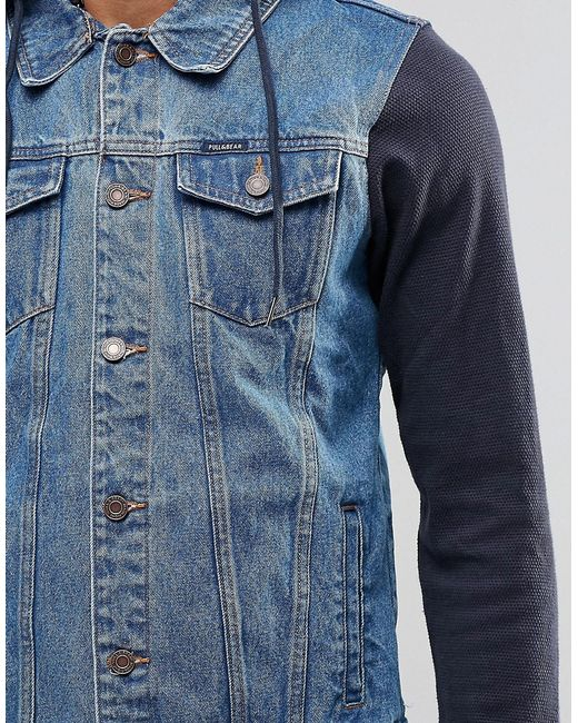 Pull&bear Denim Jacket With Jersey Hoodie In Navy in Blue ...
