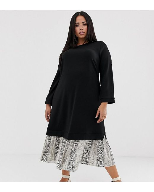 ASOS Black Asos Design Curve Midi 2 In 1 Sweat Dress With Pleated Snake Print Hem