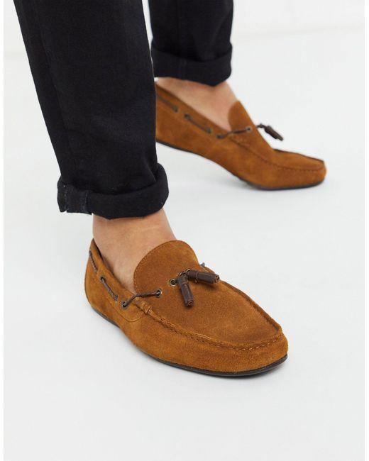 Светло-коричневые Замшевые Мокасины ASOS для него, цвет: Brown