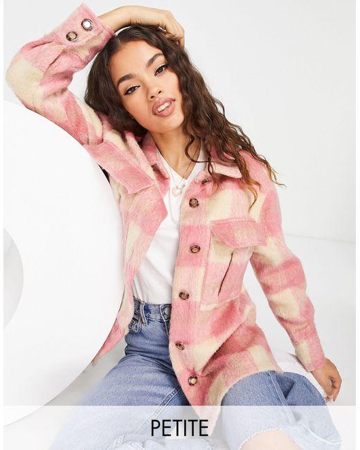 River Island Pink Brushed Check Overshirt