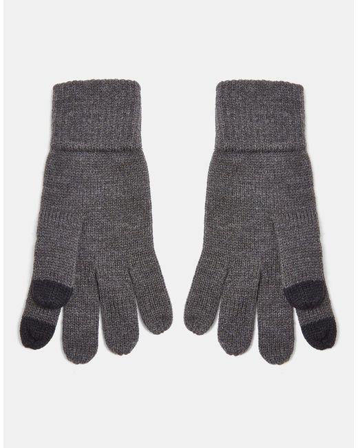 Темно-серые Перчатки Для Сенсорных Экранов -серый Topman для него, цвет: Gray