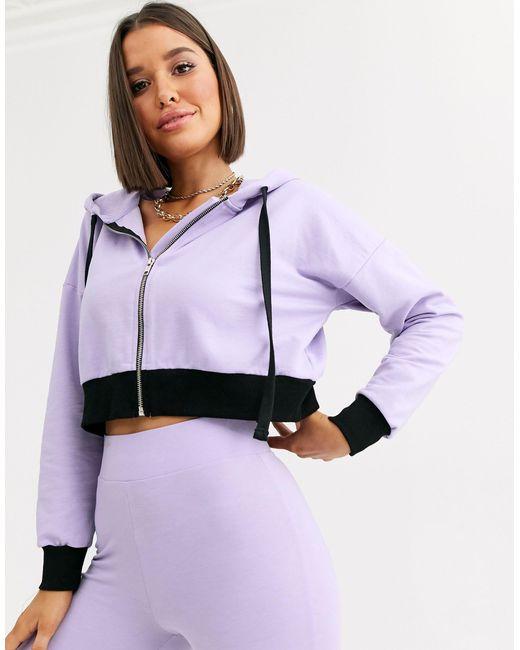 Hoodie confort avec fermeture éclair ASOS en coloris Purple