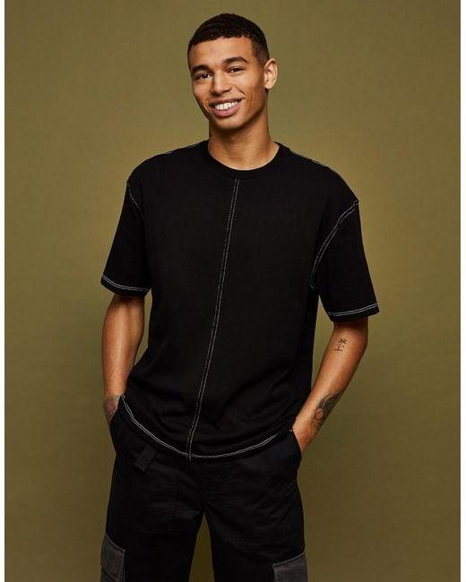 Topman Black Contrast Stitch T-shirt for men