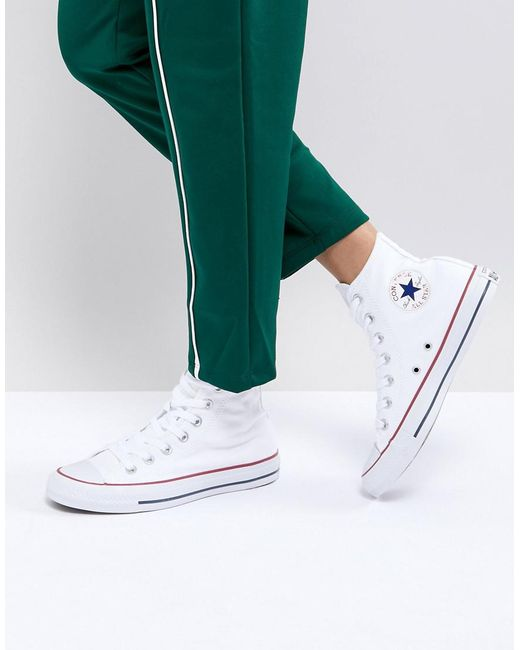 Lyst - Converse All Star High Top White Trainers in White 3ee0ed62c