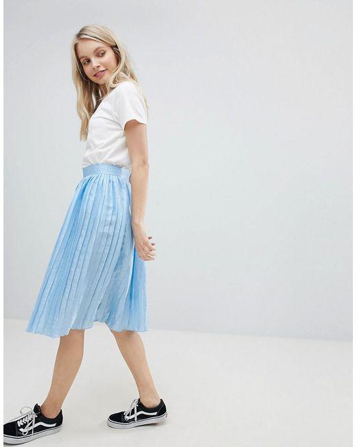 Glamorous - Blue Pleated Metallic Skirt - Lyst