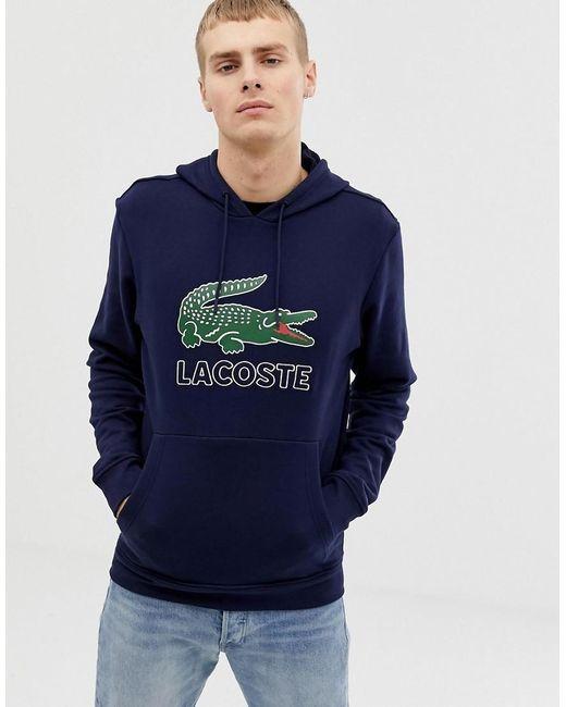 Sudadera azul marino con capucha y logo de cocodrilo Lacoste de hombre de color Black