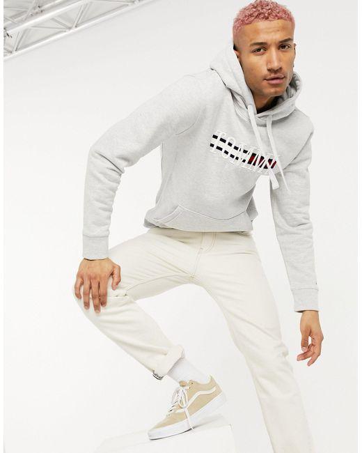 Серый Меланжевый Худи С Легендарным Логотипом-флажком Большого Размера На Груди Tommy Hilfiger для него, цвет: Gray