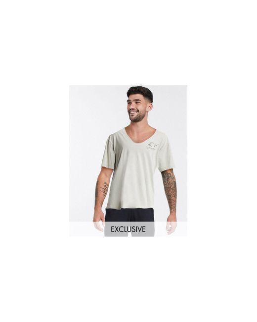 Reclaimed (vintage) – T-Shirt mit ungesäumtem Ausschnitt in Multicolor für Herren