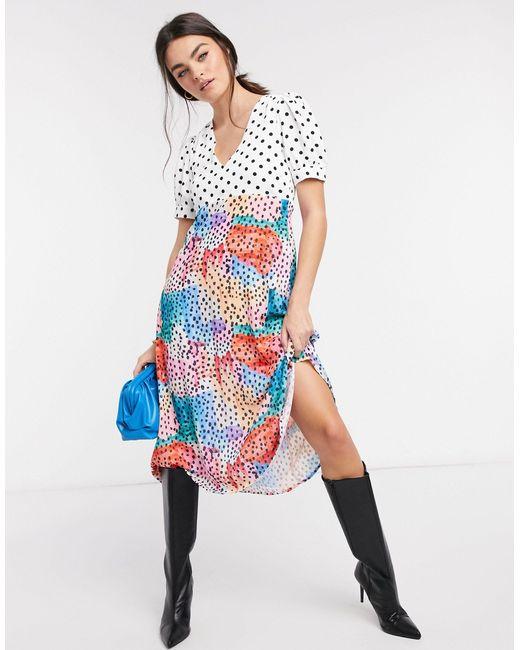 """""""чайное"""" Платье С Цветочным Принтом И Асимметричным Краем -многоцветный Traffic People, цвет: Multicolor"""