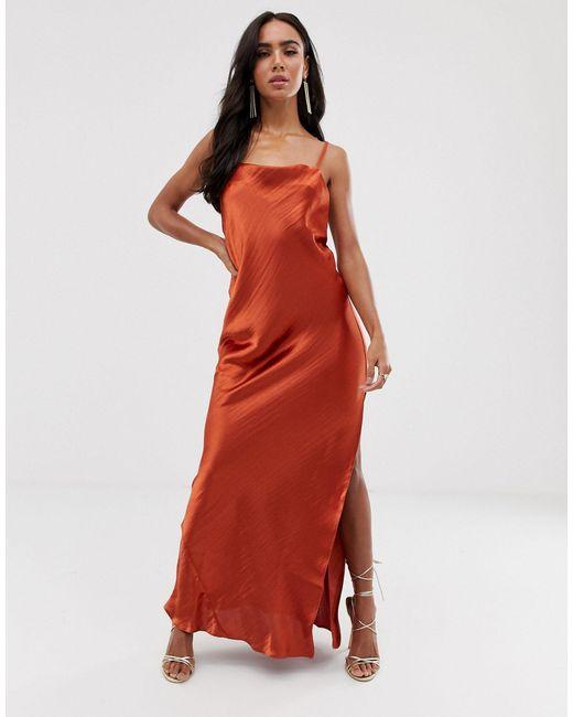 Атласное Платье-комбинация Макси ASOS, цвет: Red
