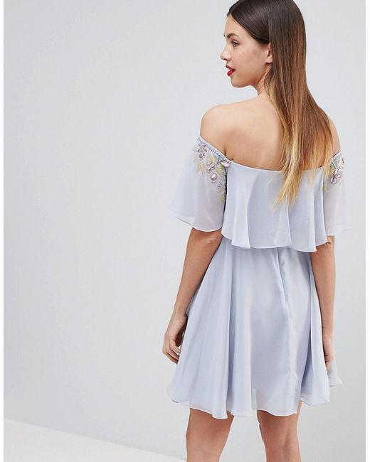 e03b350cc85b0 ... ASOS - Blue Asos Design Maternity Embellished Bandeau Crop Top Skater  Mini Dress - Lyst