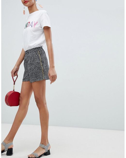 Pieces - Multicolor Spot Short With Tape Side Detail - Lyst