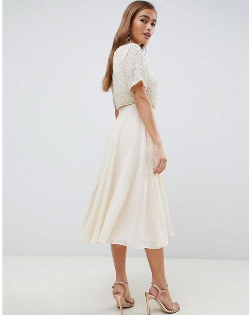Women S Natural Asos Design Petite Midi Dress With High Neck Crop Top In Delicate Embellishment