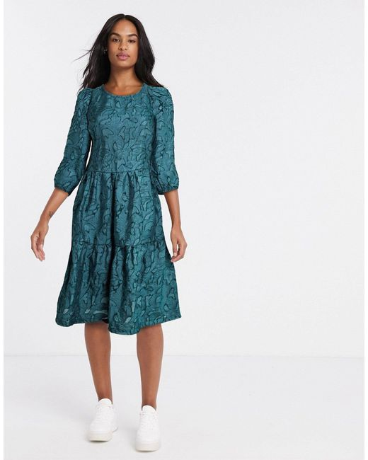 Vila Green Textured Oversized Smock Dress