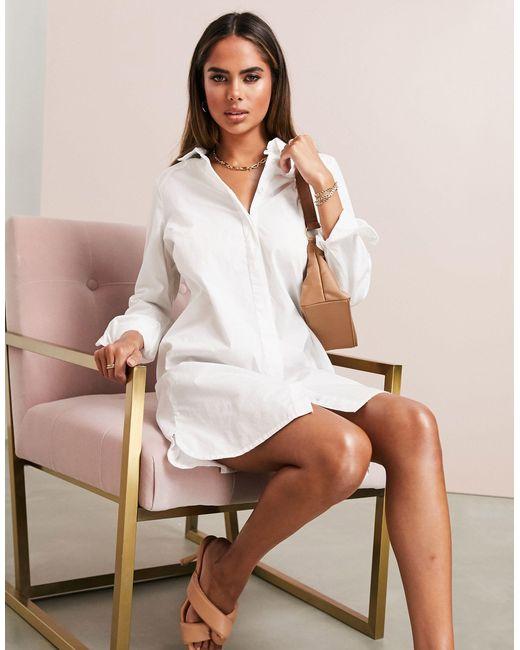 Белое Платье-рубашка Мини Из Органического Хлопка ASOS, цвет: White