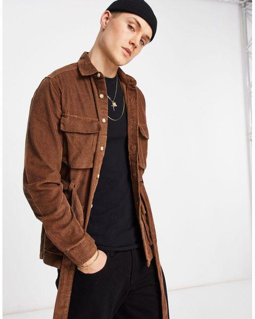 Коричневая Вельветовая Рубашка-куртка С Поясом И Карманами ASOS для него, цвет: Brown