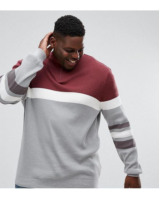 ASOS - Red Asos Plus Ribbed Half Zip Sweater In Burgundy And Charcoal for Men - Lyst