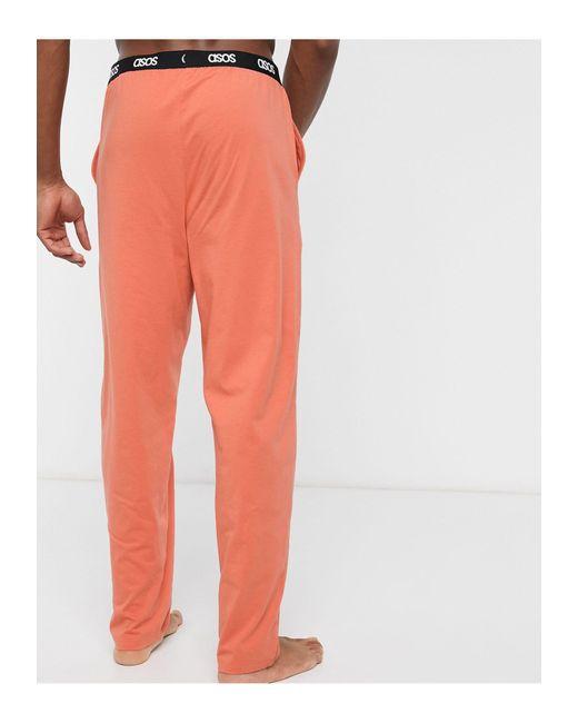 Оранжевые Пижамные Брюки С Фирменным Поясом ASOS для него, цвет: Orange