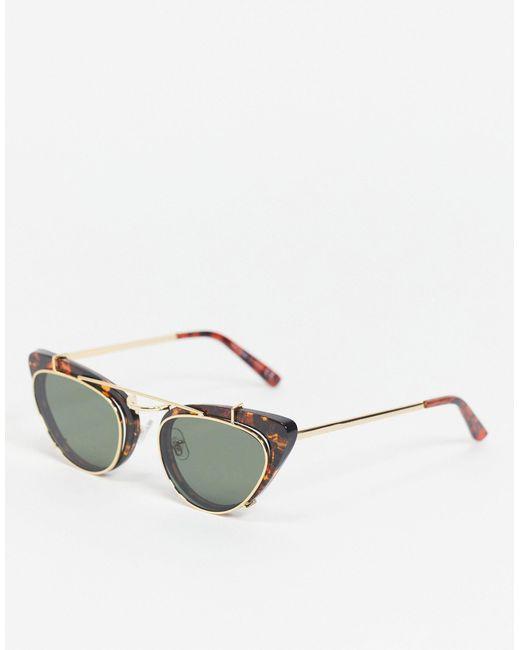 Солнцезащитные Очки Формы «кошачий Глаз» В Черепаховой Оправе -коричневый Цвет TOPSHOP, цвет: Brown