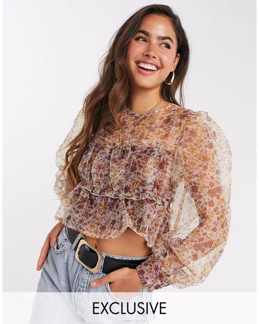 Блузка Из Органзы С Цветочным Принтом И Пышными Рукавами -бежевый Fashion Union, цвет: Natural